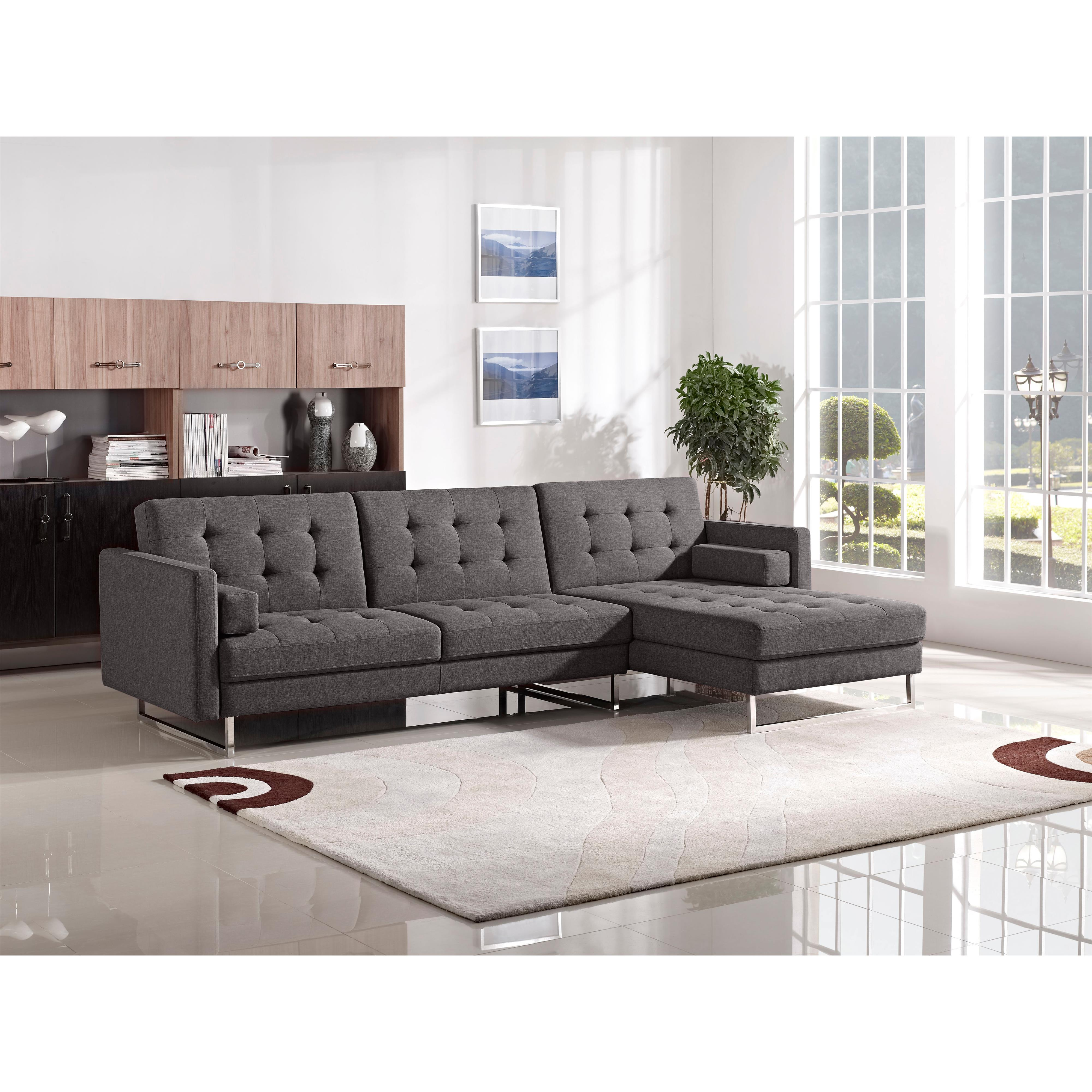 Diamond Sofa Opus Convertible Tufted RF Chaise Sectional - Item Number: OPUSRFSECTGR