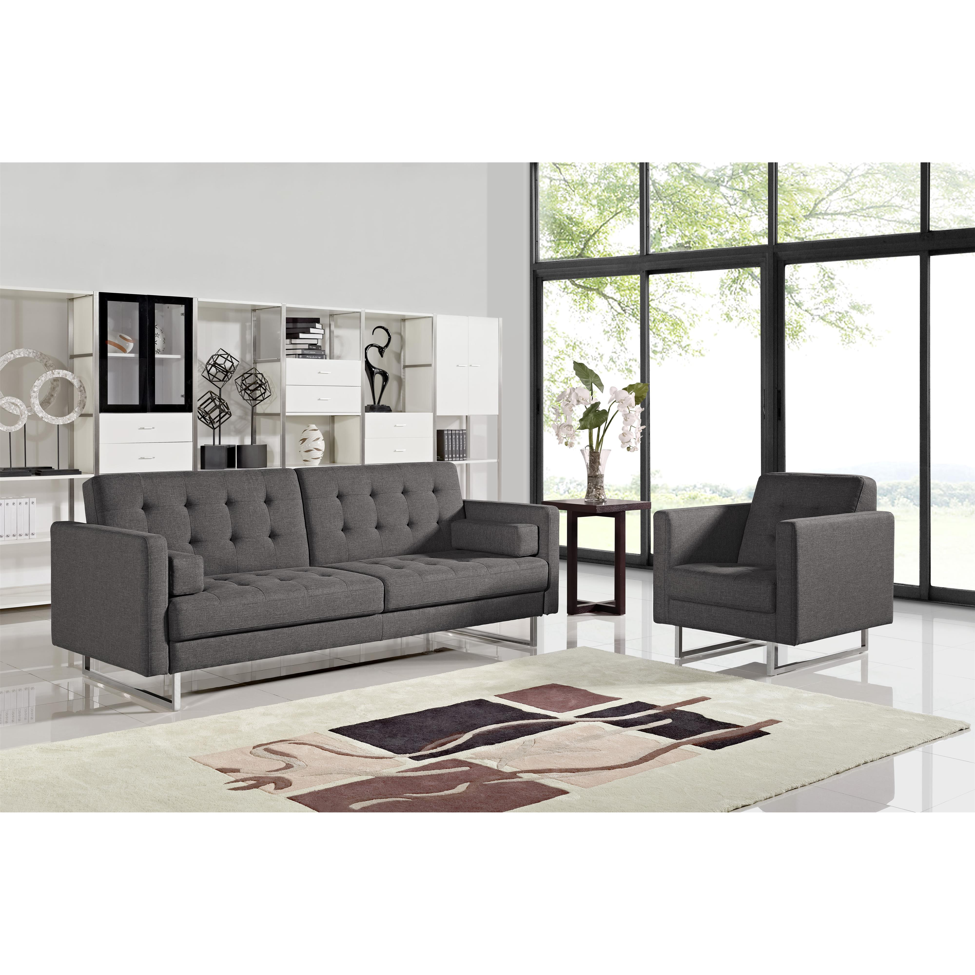 Diamond Sofa Opus Convertible Tufted Sofa with Chair 2PC  - Item Number: OPUSSCGR