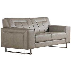 Diamond Sofa Vera Leatherette Loveseat with Chrome Metal Leg