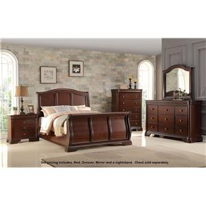 Miskelly Furniture Private Label Collection B161 King Bed, Dresser, Mirror and Nightstand