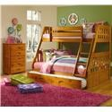 Discovery World Furniture Honey Twin Over Full Bunk Bed - Item Number: P143736