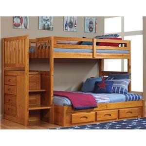 Discovery World Furniture Honey Twin Over Full Bunk Bed