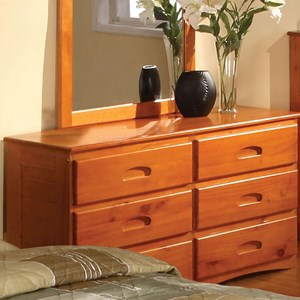 Discovery World Furniture Honey  6 Drawer Dresser