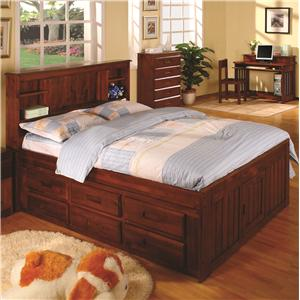 Discovery World Furniture Merlot Twin Captain's Bed with Drawers