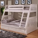 Discovery World Furniture White Twin Over Full Bunk Bed - Item Number: 0218