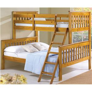 Donco Trading Co 122 Twin/Full Mission Bunkbed