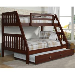 Donco Trading Co 1018 Twin over Full Bunk Bed with Trundle