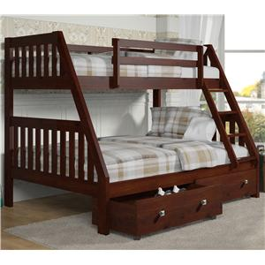 Donco Trading Co 1018 Twin over Full Bunk Bed with Storage Drawers
