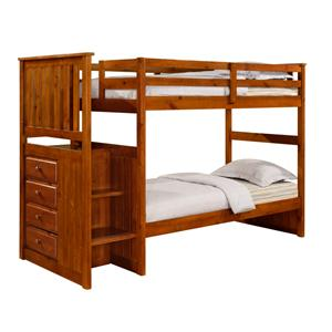 Donco Trading Co Twin Rustic Bunk Bed in Rustic Walnut Espresso Stair Step Bunk Bed