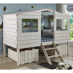 Donco Trading Co Tree House Twin Loft Bed with 2 Drawers