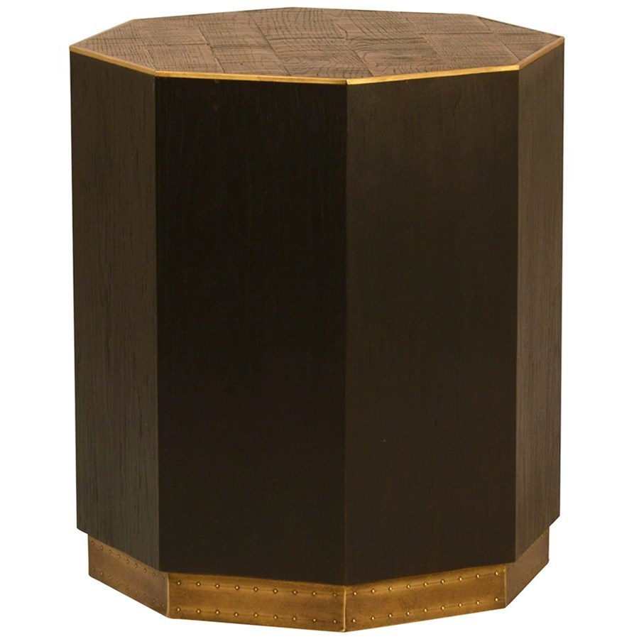 Dovetail Furniture Living Hermes Oak Side Table With Metal Accents