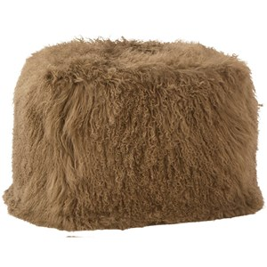 Dovetail Furniture Mohair Mohair Light Brown Pouf