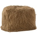 Dovetail Furniture Mohair Mohair Light Brown Pouf - Item Number: DOV11010