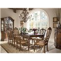 Drexel Heritage® Casa Vita 9-Piece Giordano Dining Table Set - Shown with china cabinet and buffet