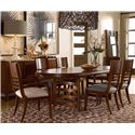 Drexel Heritage® Renderings Volt Arm Chair w/ Upholstered Seat - Shown in Room Setting with Side Chairs, Oval Table, Credenza and Floor Mirror