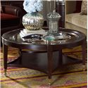 Drexel Heritage® Vintage Originals Round Antique Inspired Glass Top Cocktail Table with Stretcher