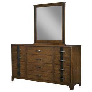 Durham Parkwood  Triple Dresser and Vertical Mirror Set
