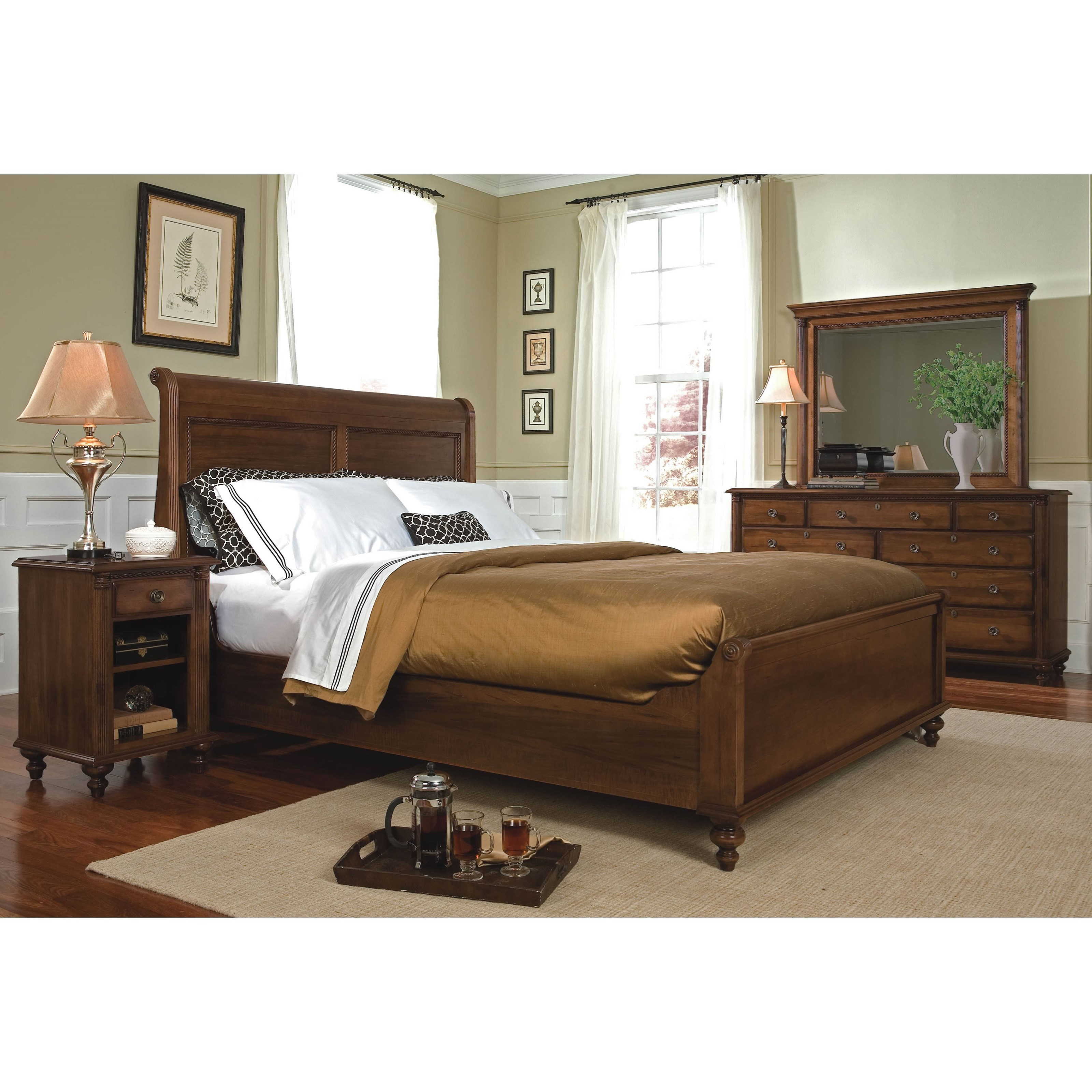 Durham Saville Row Traditional Queen Sleigh Bed With Low