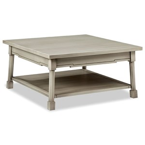 Cottage Style Square Cocktail Table with Shelf