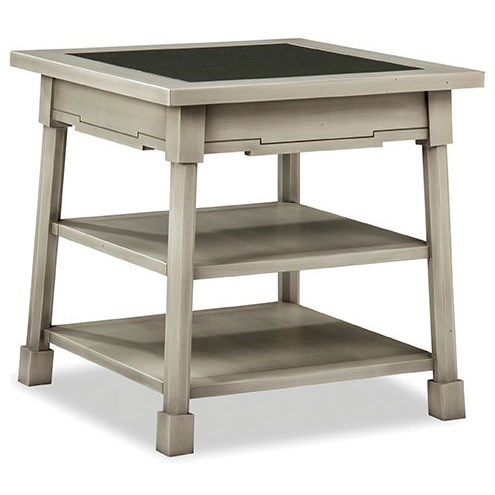 Square End Table with Glass