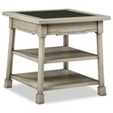 Durham Solid Accents - Classic Foundry Square End Table with Glass - Item Number: 904-522
