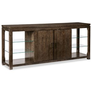 Glass Shelf Console Cabinet with Soft-Close Doors