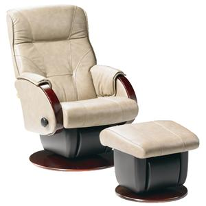 Dutalier Monaco  Contemporary Styled Multiposition Gliding Recliner with Swivel and Ottoman