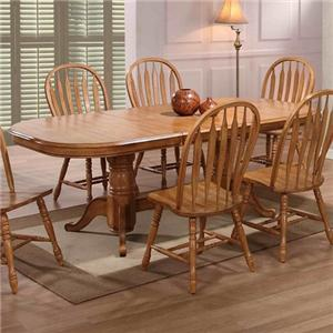 E.C.I. Furniture Dining  Double Pedestal Table w/ 4 Sidechairs