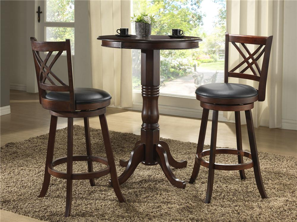 E.C.I. Furniture Burnished Collection 3Pc Counter Height Pub Table & Stools - Item Number: 1300/BKIT