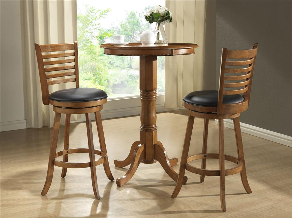 E.C.I. Furniture Burnished Collection 3Pc Counter Height Pub Table & Stools - Item Number: 1307/BKIT