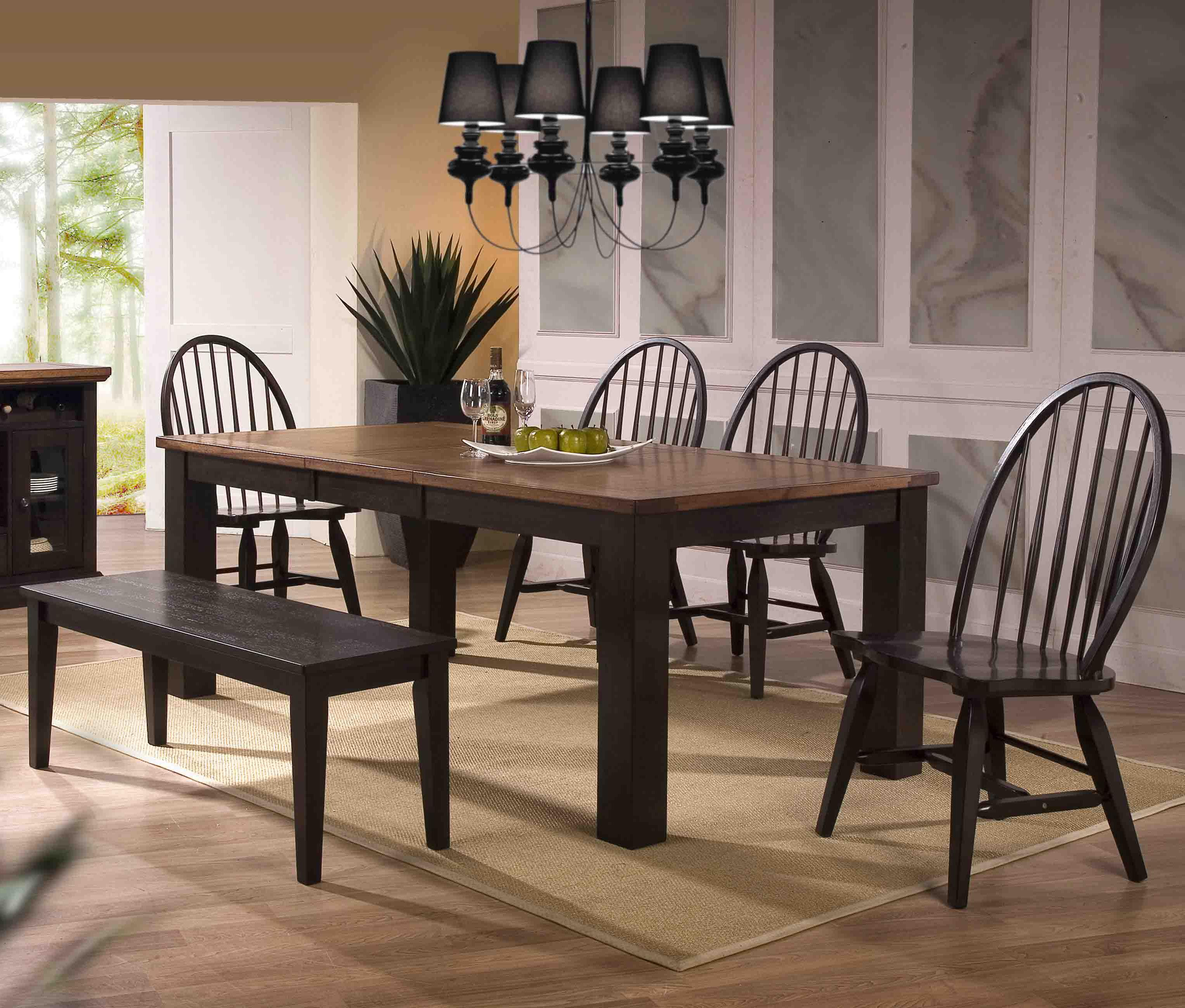 E.C.I. Furniture Acacia Table and Chair Set - Item Number: 3073-00-T+4xS+B
