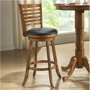 "E.C.I. Furniture Bar Stools 29"" Rustic Ladder Back Swivel Stool"