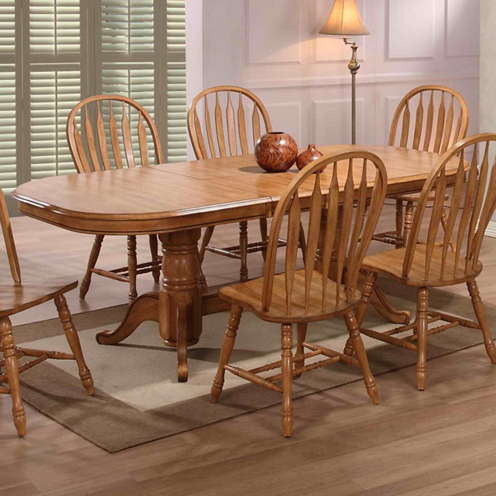 E c i furniture dining solid oak double pedestal dining for Oak dining room table