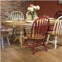E.C.I. Furniture Dining  Solid Oak Double Pedestal Dining Table with Color Side Chairs - Table