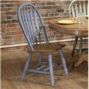 E.C.I. Furniture Dining  Solid Oak Double Pedestal Dining Table with Color Side Chairs - Blue Chair