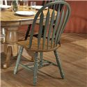 E.C.I. Furniture Dining  Solid Oak Double Pedestal Dining Table with Color Side Chairs - Green Chair