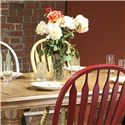E.C.I. Furniture Dining  Solid Oak Double Pedestal Dining Table with Color Side Chairs - Yellow Chair