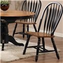 E.C.I. Furniture Dining  Solid Oak Double Pedestal Dining Table with Color Side Chairs - Black Chair