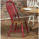 E.C.I. Furniture Dining  Solid Oak Double Pedestal Dining Table with Color Side Chairs - Red Chair