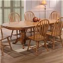 E.C.I. Furniture Dining  Double Pedestal Oak Dining Table with 6 Bow Back Side Chairs - Dining Table