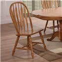 E.C.I. Furniture Dining  Double Pedestal Oak Dining Table with 6 Bow Back Side Chairs - Side Chair