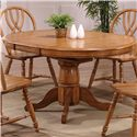 E.C.I. Furniture Dining  Solid Oak Single Pedestal Dining Table with 4 Double X Back Chairs - Table