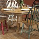 E.C.I. Furniture Dining  Round Solid Oak Dining Table with Color Side Chairs - Table