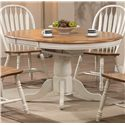 E.C.I. Furniture Dining  White-Trimmed Round Table with Arrow Back Side Chairs - Round Dining Table