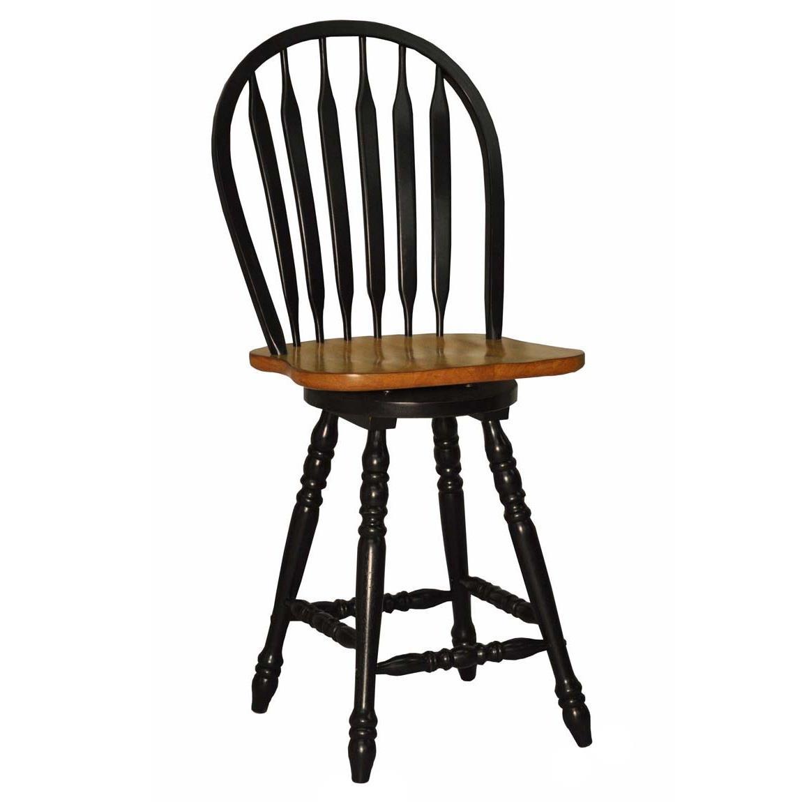 E.C.I. Furniture Dining  Large Bow Back Counter Stool - Black - Item Number: 2190-10-BS24