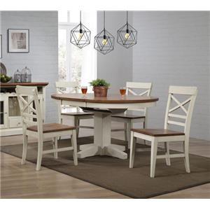 E.C.I. Furniture 0733 White 5 Piece Dining Set