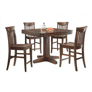 E.C.I. Furniture Gettysburg 5 Piece Counter Height Table and Stools