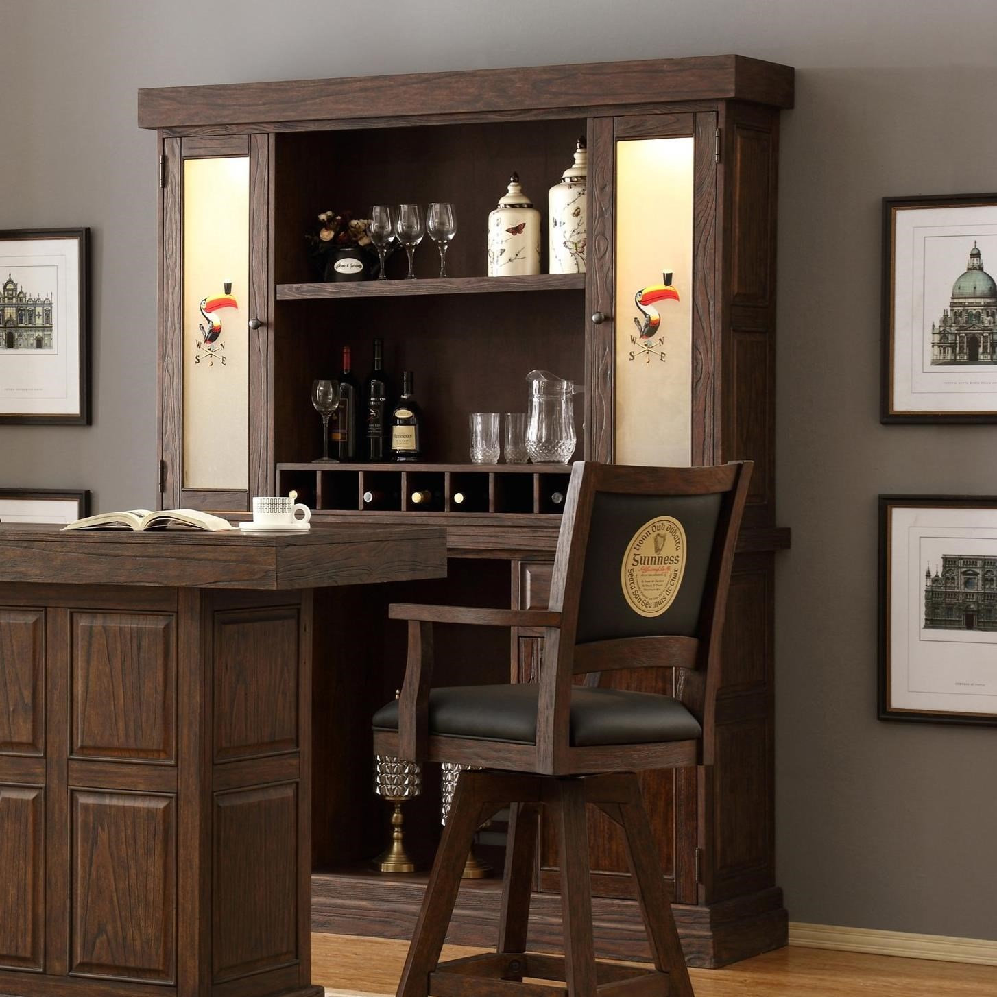 E C I Furniture Guinness Bar 0807 89 Bb H Back Bar And Hutch With Vented Area For Mini Fridge Corner Furniture Hutches