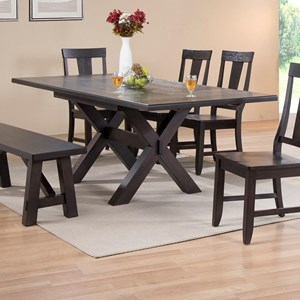 Rectangular Trestle Dining Table with 2 End Extension Leaves