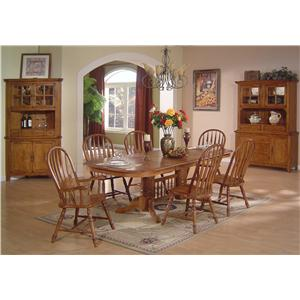 ECI Furniture Solid Oak Dining Table Chair Set